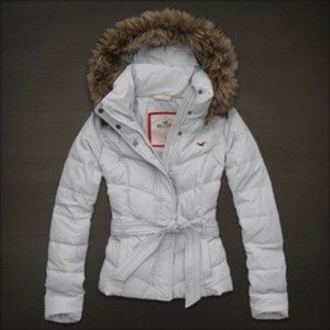 Hollister White Down Jacket Women Girl Belted Coat